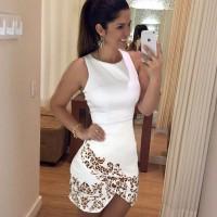 Women's Trendy White Tank Print Above Knee Sleeveless Asymmetrical Dress