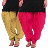Women's BEIGE-RANI Cotton Patiala Salwar