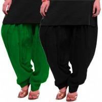 Women's BLACK-GREEN Cotton Patiala Salwar