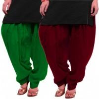 Women's GREEN-MAROON Cotton Patiala Salwar