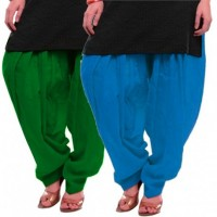 Women's GREEN-SKYBLUE Cotton Patiala Salwar