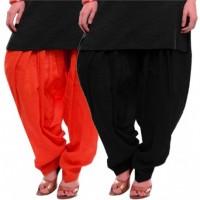 Women's ORANGE-BLACK Cotton Patiala Salwar