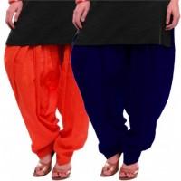 Women's ORANGE-BLUE Cotton Patiala Salwar