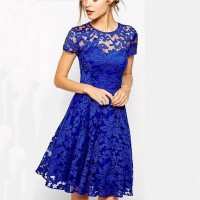 Women's Elegant Blue O-Neck Solid Lace Knee-Length Short Sleeve A-Line Dress