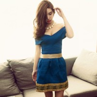 Women's Sexy Blue Slash Neck Patchwork Above Knee Short Sleeve A-Line Dress