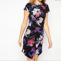 Women's Casual O-Neck Print Above Knee Short Sleeve A-Line Dress
