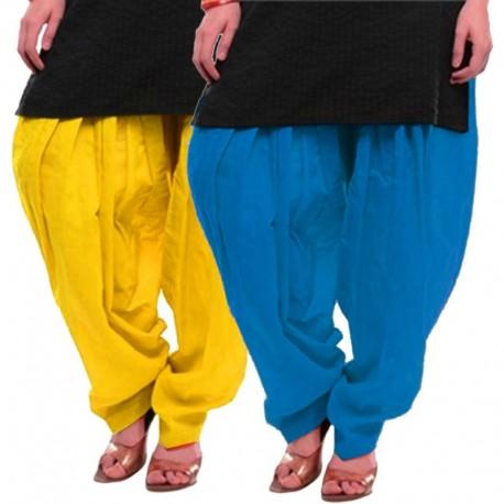 Women's YELLOW-SKYBLUE Cotton Patiala Salwar