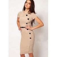 Women's Trendy Beige O-Neck Solid Knee-Length Short Sleeve Straight Dress