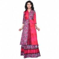 Multi Colour Taffeta Silk Digital Printed Indo Western Lahengha Kurta Material
