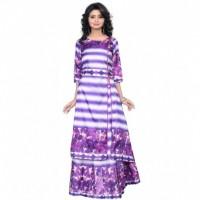 Multi Colour Leaf Design Taffeta Silk Digital Printed Indo Western Lahengha Kurta Material