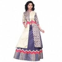 Multi Colour and White Design Taffeta Silk Digital Printed Indo Western Lahengha Kurta Material