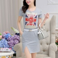 Women's Simple Grey O-Neck Print Above Knee Short Sleeve Straight Dress