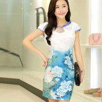 Women's Stylish Sky Blue Square Collar Print Above Knee Short Sleeve Bodycon Dress