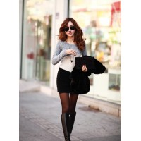 Image Gallery:(Big Photos) Women's Casual Grey Long Sleeve Dress