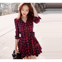 Women's Trendy Red Turn-down Collar Floral Above Knee Long Sleeve A-Line Dress