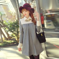 Women's Party Grey Turn-down Collar Patchwork Woolen Above Knee Long Sleeve A-Line Dress