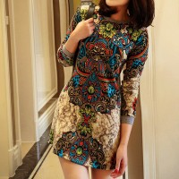 Women's Casual Apricot O-Neck Print Above Knee Long Sleeve A-Line Dress