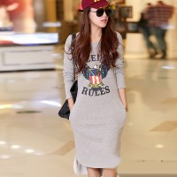 Women's Party Light Grey O-Neck Letter High Low Long Sleeve Asymmetrical Dress