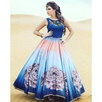 New Banglori Blue 3D Printed Flower Semistitched gown