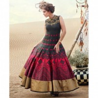 New Banglori Red and Black Printed Semistitched Gown