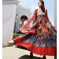 New Multi Colored Banglori  Semistitched Gown