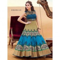 Beige and Greeny Blue Banglori Semi-stitched Gown