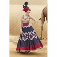 Beige and Pink Banglori Khatli Worked Semi-stitched Gown