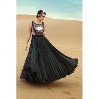 All new Black Silver chiffon Printed Semi-stiched Gown