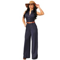 Women's Sexy Navy V-Neck Solid Jumpsuit