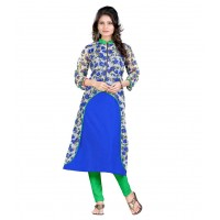 Aashvi Creation Blue Poly Rayon Kurti