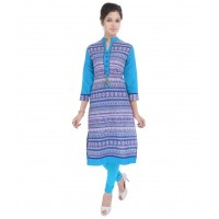 Palakh Blue Cotton Kurti