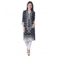 Black Viscose Straight Kurti