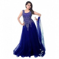 Navy Net Anarkali Gown Semi-Stitched Suit