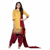 Yellow Polycotton Straight Semi-Stitched Suit