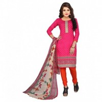 Red Polycotton Straight Semi-Stitched Suit