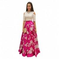 Bhavya Enterprise Pink Bangalore Silk Circular Semi Stitched Lehenga