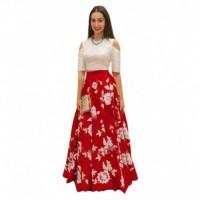 Bhavya Enterprise Red Bangalore Silk Circular Semi Stitched Lehenga