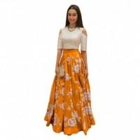 Bhavya Enterprise Yellow Bangalore Silk Circular Semi Stitched Lehenga