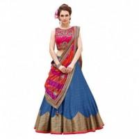 Bhavya Enterprise Blue Bangalore Silk Circular Semi Stitched Lehenga