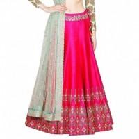 Bhavya Enterprise Pink Bangalore Silk A-line Semi Stitched Lehenga