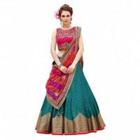 Bhavya Enterprise Green Bangalore Silk Circular Semi Stitched Lehenga