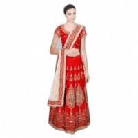 Bhavya Enterprise Red Bangalore Silk A-line Semi Stitched Lehenga