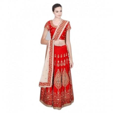 Bhavya Enterprise Red Bangalore Silk A-line Semi Stitched Lehenga