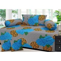 Akshya pure cotton diwan set with 2 bolster and 5 cushion cover
